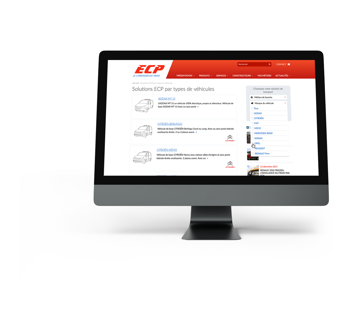 Recherche avance sur le site internet ECP